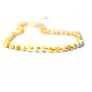 Milky Round Amber Beads Adult Necklace A18-2R