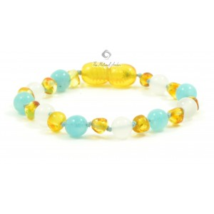 S19 Baltic Amber and White Agate Mix Baby Anklets & Bracelets