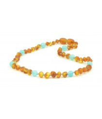 Amber Gemstone Aquamarine Teething Baby Necklace