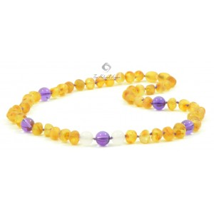A25-1AU Amber Purple Amethyst White Agate mix Adult Necklace
