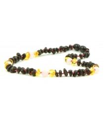 B27 Half Baroque Amber and Quartz Mix Baby Necklaces