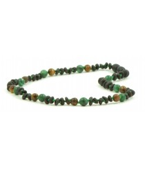 Cherry Amber Tiger Eye and African Jade Baby Necklaces H28-T1U
