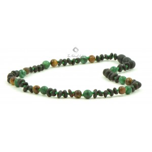 B28-T1U Half Baroque Amber and Tiger Eye African Jade Mix Baby Necklaces