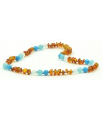 Half Baroque Cognac Amber and Turquoise Baby Necklaces H29-T1