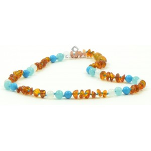 B29-T1 Half Baroque Cognac Amber and Turquoise Baby Necklaces