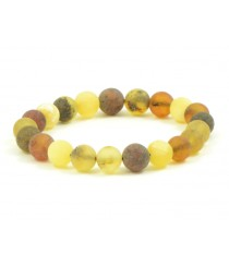 W176 Multicolor Round Amber Bracelet on Elastic Band