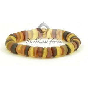 W179 Multicolor Tablet Amber Bracelet on Elastic Band
