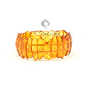 W107 Honey Amber Bracelet on 2 Elastic Bands