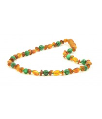 B30-C1 Raw Olive Polished Half Baroque Cognac Amber and Cat Eye Baby Teething Necklace