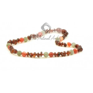 B32-L1 Half Baroque Cognac Amber with Labradoryth & Red Agate Baby Necklace