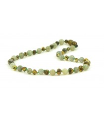 Baroque Green Amber and Labradoryth Baby Necklace B33-L1