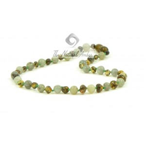 B33-L1 Baroque Green Amber and Labradoryth Baby Necklace