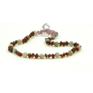 S34-G1 Cherry Half Baroque Amber and Grey Agate Baby Necklace