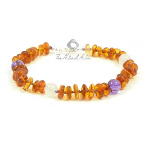 J101 Amber Anklets with Sterling Silver 925 clasp