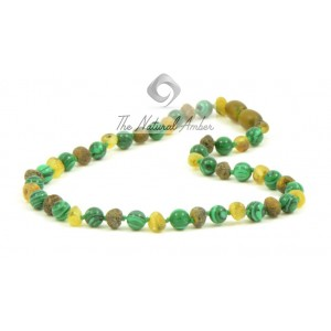 B35-C1 Raw Baroque Green Amber and Chrysocola Baby Teething Necklace