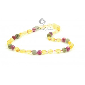 B29-C2 Raw Lemon Olive Amber and Labradoryth with Rose Baby Agate Necklace