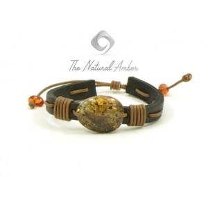 Adjustable Amber and Leather Adult Bracelet AL1