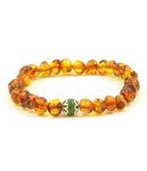 L18-2A Amber And African Jade Mix Adult Bracelets