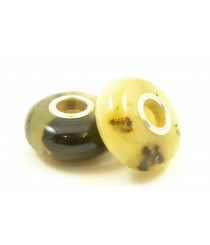Milky/Green Pandora Style Amber Beads PB107