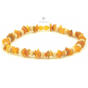 Amber Pet Collar with Wooden Beads on Elastic Band P107