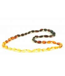 Reversed Rainbow Bean (Olive) Amber Adult Necklace A9-4O