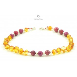 J104 Amber Anklets with Sterling Silver 925 Clasp and Semistone