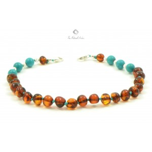 J106 Amber Anklets with Sterling Silver 925 Clasp and Semistone