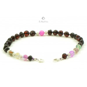 J107 Cherry Amber and Colorful Agate Anklets with Sterling Silver 925 clasp
