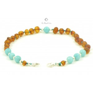 J108 Raw Cognac Amber and Aquamarine Anklets with Sterling Silver 925 clasp