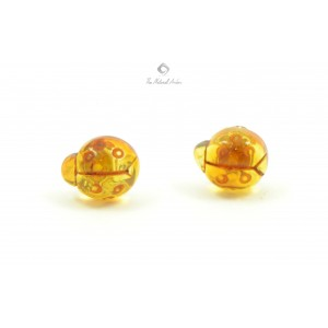 Baltic Amber Stud Earrings Ladybug