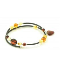 Amber Bracelet with Heart Pendant