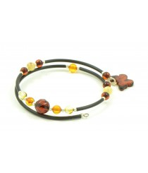 Amber Bracelet with Butterfly Pendant