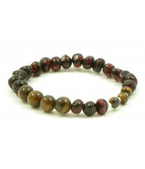 Baltic Amber and Gemstone Adult Bracelets With Tiger Eye Beads L21