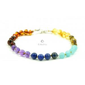 Amber Gemstone Beads Adult Bracelet Silver Clasp