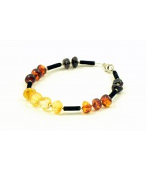 Adult Bracelet with Rainbow Amber Beads W187