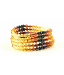 W179 Multicolor Tablet Amber Bracelet on Elastic Band