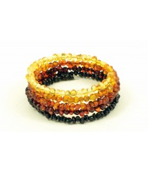 Rainbow Amber Bracelet made on Flexible Band W119