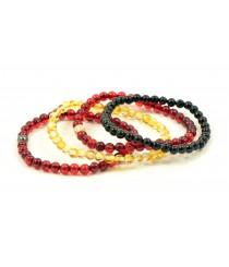 Round Red Amber Bracelets on Elastic Band L24