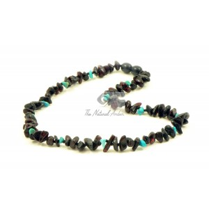 Cherry Chip Amber and Turqoise Chip Bead Necklace B45-CT1