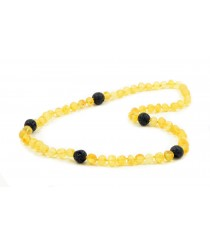 Raw Baltic Amber and Big Lava beads necklace for Adults A31-1LA
