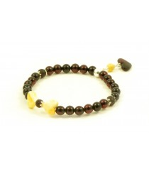 Cherry Amber bracelet for Adults with Heart pendants W192