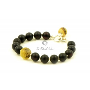 Cherry Amber bracelet with Milky Amber Ball Pendant W193