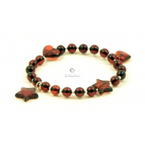 Dark Cognac Amber Adult Bracelet with Heart and Star Pendants W194
