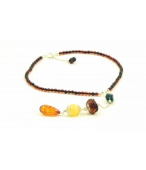 Exclusive Adult Amber Necklace With 3 Pendants N256