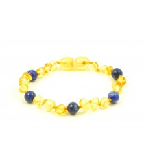 Lemon Color Baltic Amber Teething Necklace With Lapis Lazuli Beads S26-L1