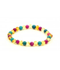 Lemon Amber Turquoise and Rose Agate Adult Bracelet L21-18G