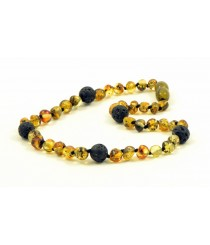 Genuine Green Baltic Amber and Lava Stone Teething Necklaces B47