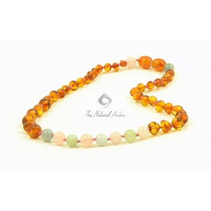 Amber and Chackra Gemstones Teething Necklaces B44