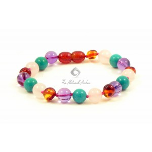 Amber agate turquoise bracelet
