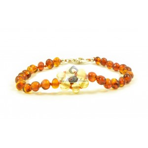Amber Child Teen Anklets With Silver Clasps